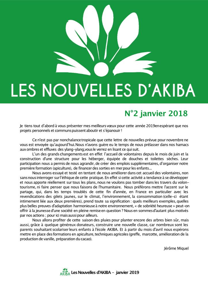 Couv. NEWSLETTER N°2 - JANVIER 2018