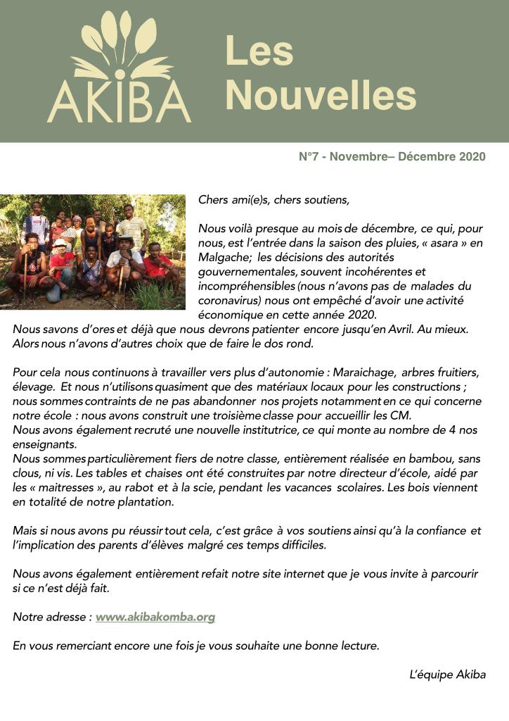 AKIBA NEWSLETTER N°7 – NOVEMBRE DÉCEMBRE 2020