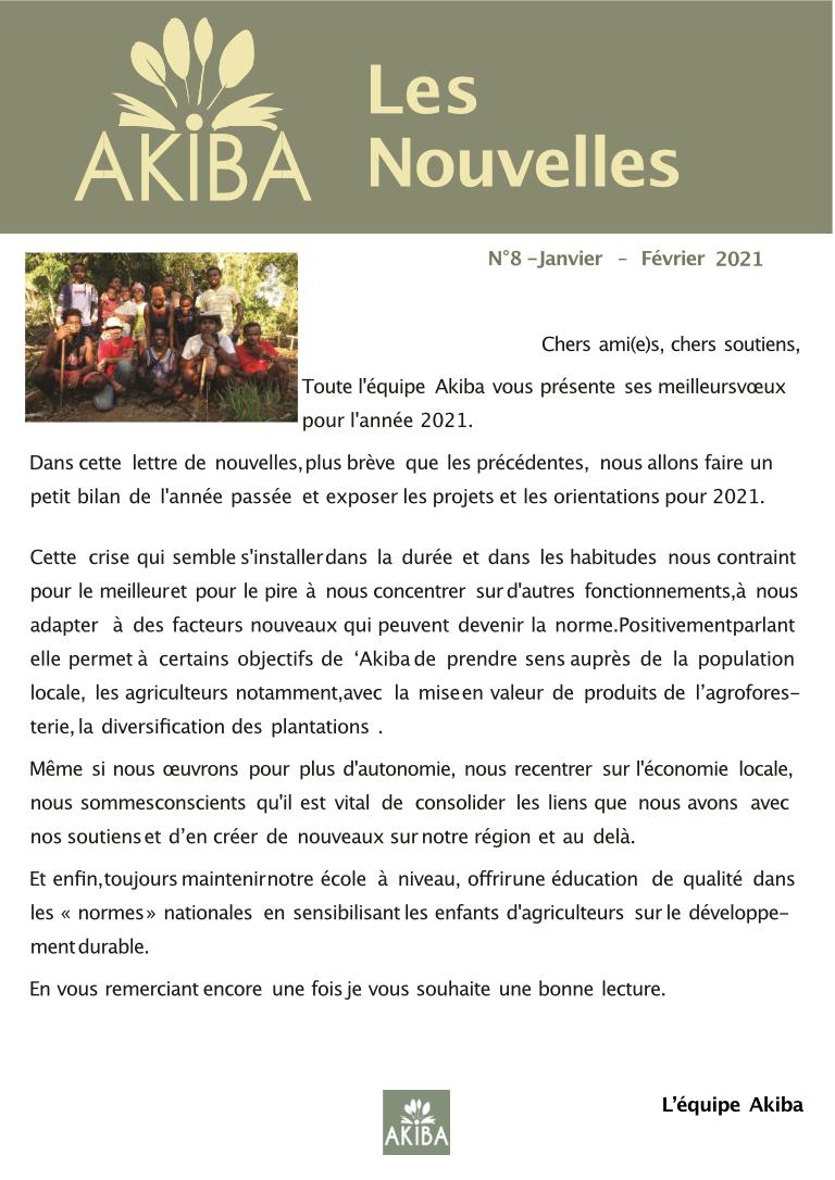 AKIBA NEWSLETTER N°8 – JANVIER FÉVRIER 2021